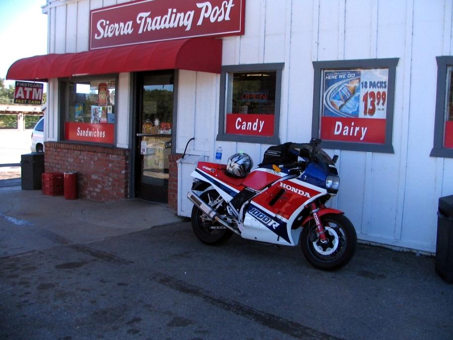 Vikki parked at the Sierra Trading Post in Moke Hill