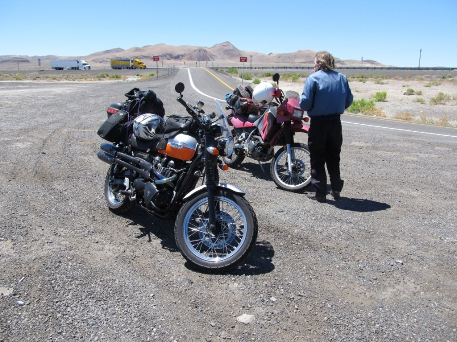 the bikes and Rand at one of our short breaks between Reno and Winnemucca...